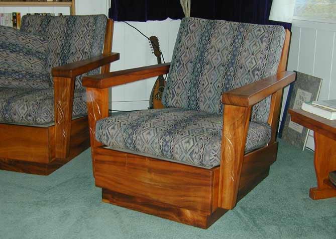 Solid koa wood 6 piece living room set for Hawaiian living room furniture